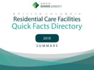 residential care facilities: quick facts directory 2018 summary cover